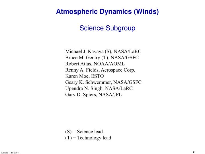 Atmospheric dynamics winds science subgroup