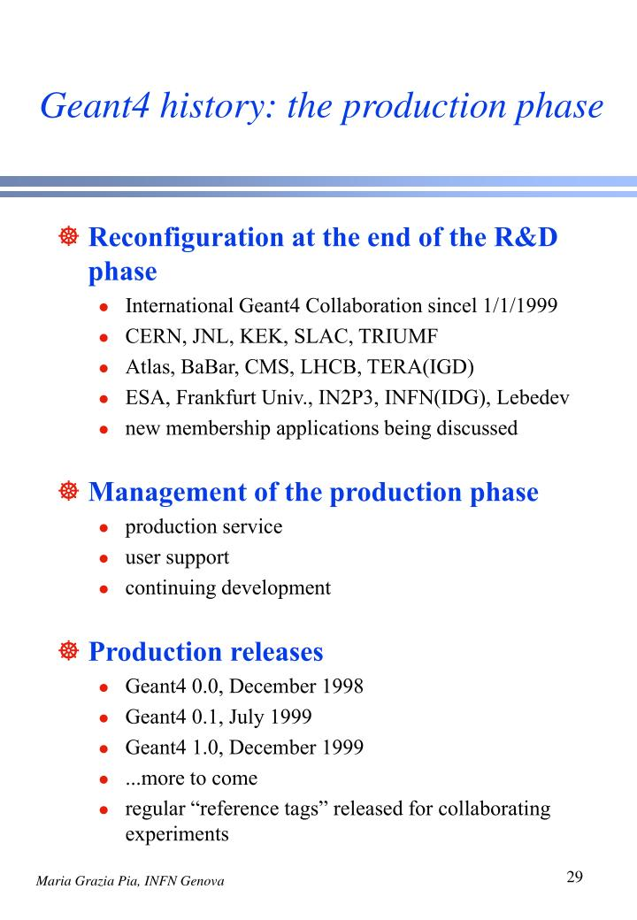 Geant4 history: the production phase