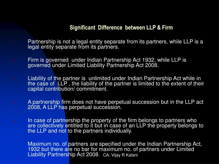 limited liability partnership act 2008 salient features