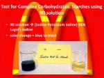 test for complex carbohydrates starches using iki solution