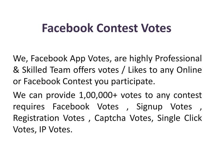 facebook contest votes n.