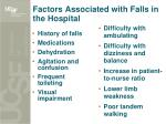 factors associated with falls in the hospital
