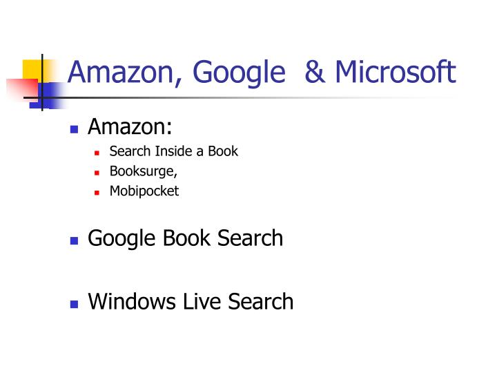 Amazon, Google  & Microsoft
