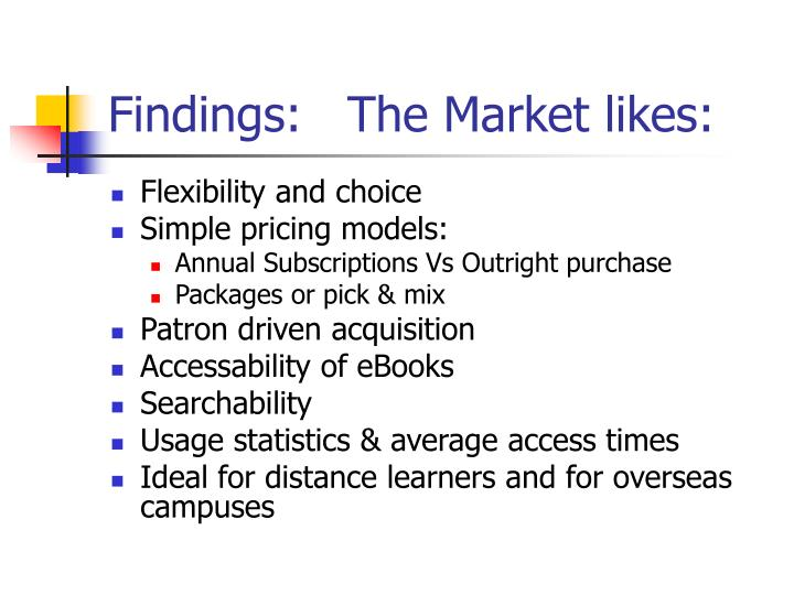 Findings:   The Market likes: