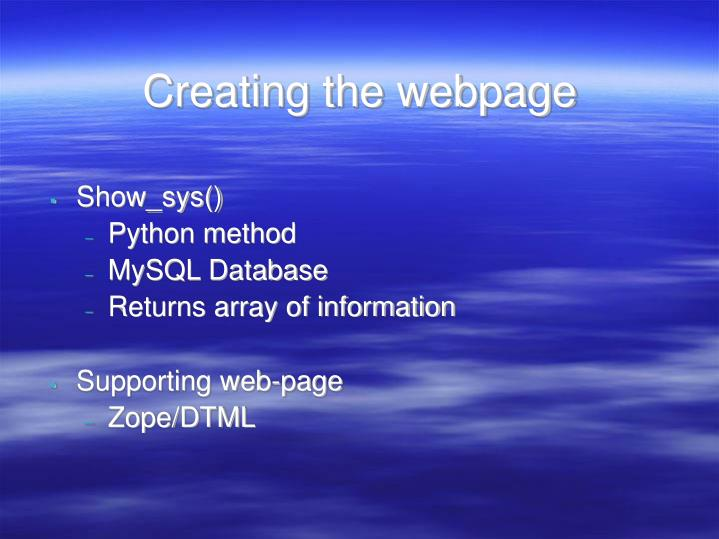 Creating the webpage