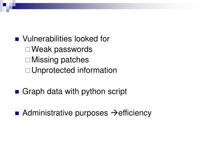 Vulnerabilities looked for
