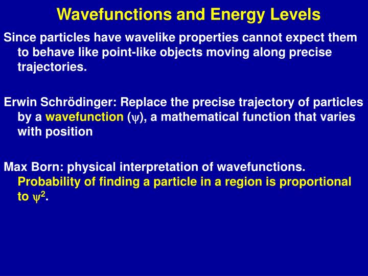 wavefunctions and energy levels n.