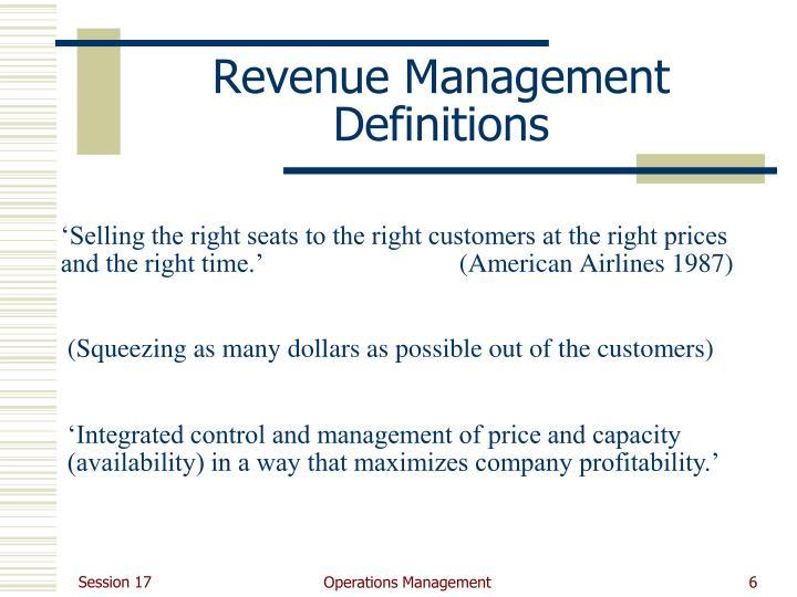Revenue Management Definitions
