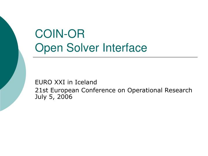 coin or open solver interface n.