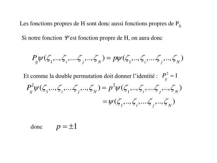 Les fonctions propres de H sont donc aussi fonctions propres de P