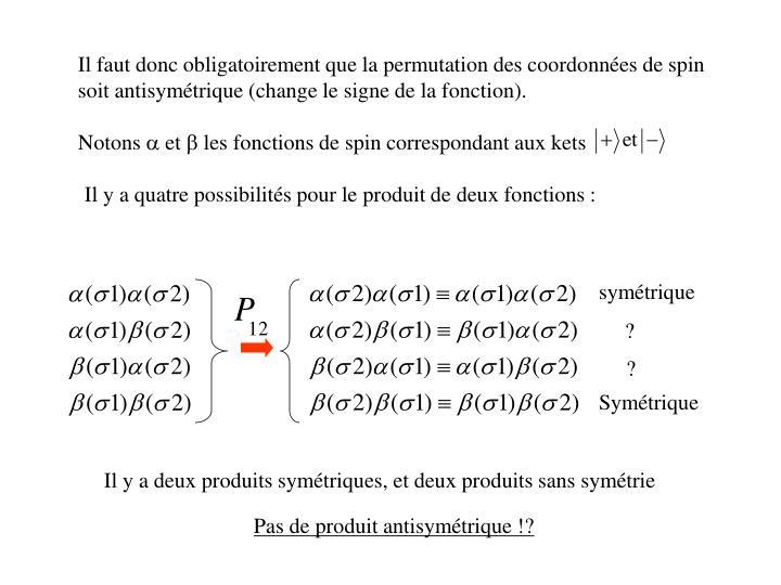 Il faut donc obligatoirement que la permutation des coordonnées de spin soit antisymétrique (change le signe de la fonction).