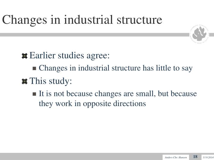 Changes in industrial structure