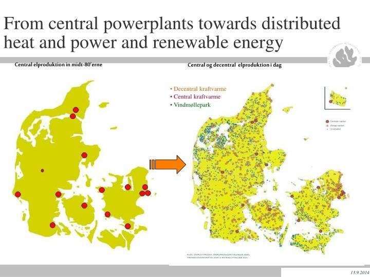 From central powerplants towards distributed heat and power and renewable energy