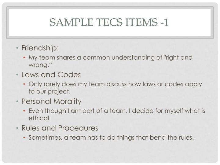 Sample TECS Items -1
