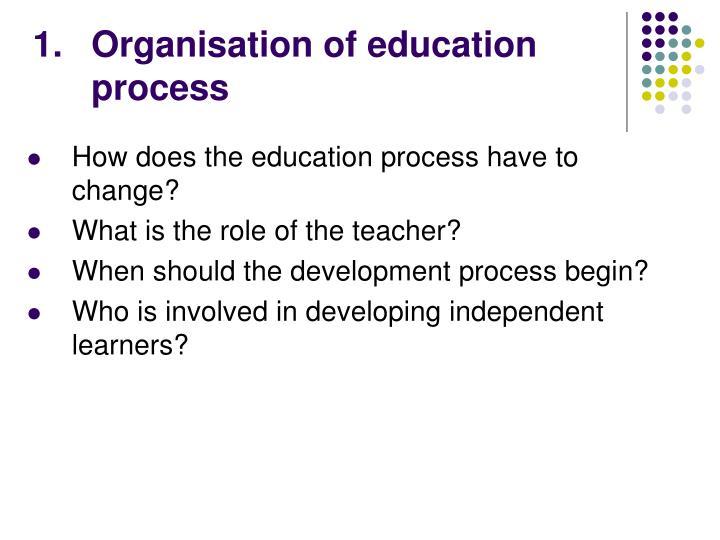 Organisation of education