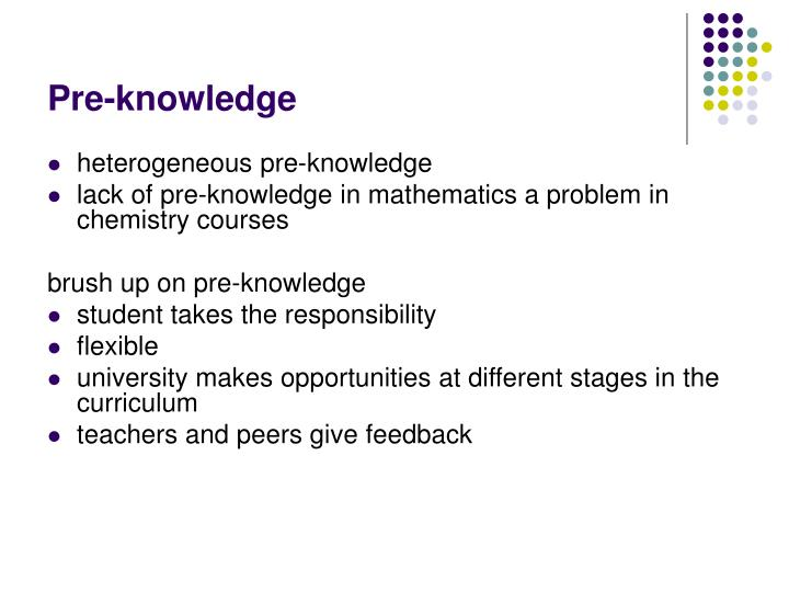 Pre-knowledge