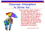 classroom atmosphere to strive for