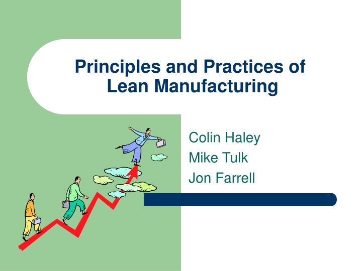 principles and practices of lean manufacturing n.