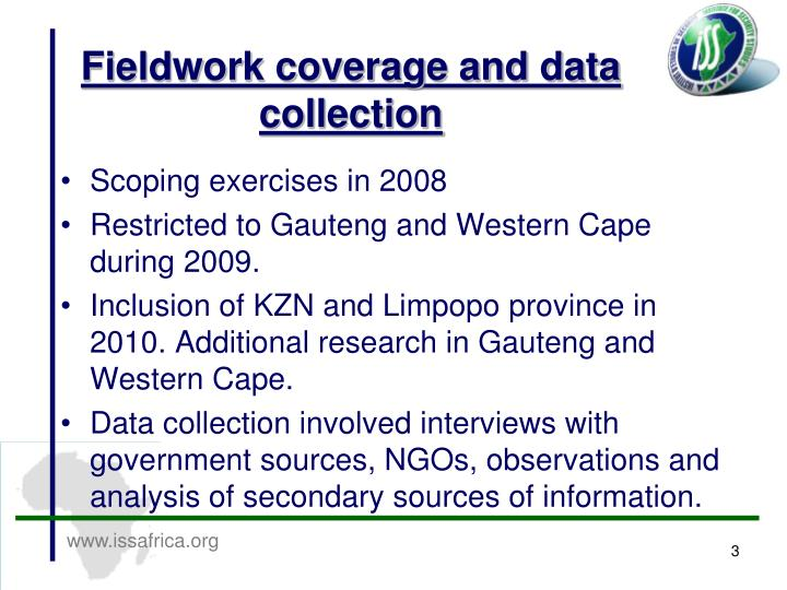 Fieldwork coverage and data collection