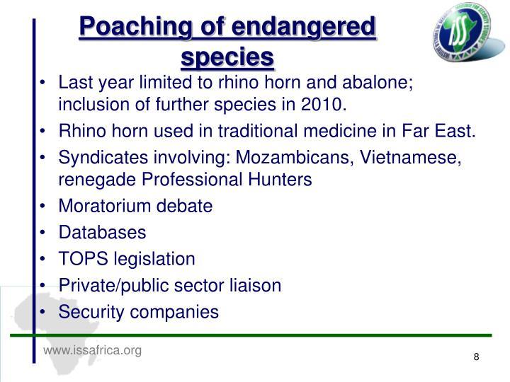 Poaching of endangered species