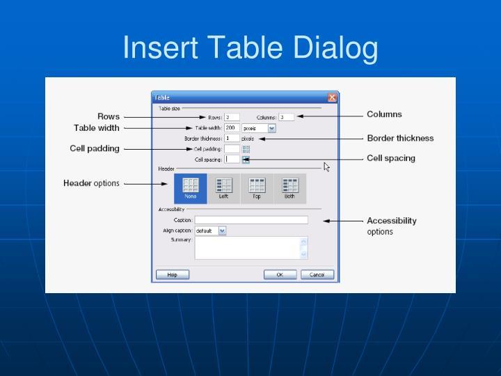 Insert Table Dialog