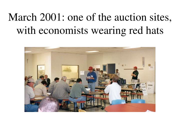 March 2001: one of the auction sites, with economists wearing red hats