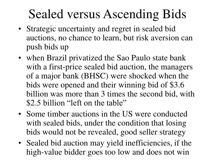Sealed versus Ascending Bids
