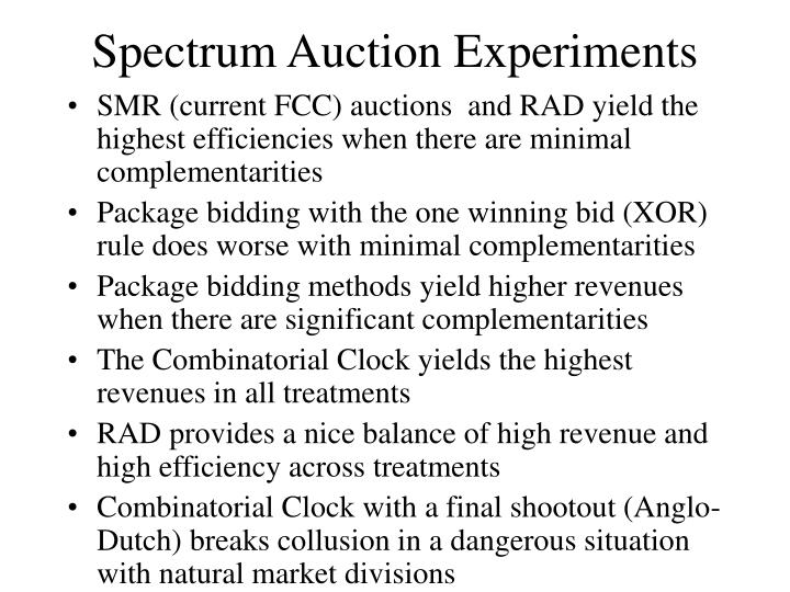 Spectrum Auction Experiments