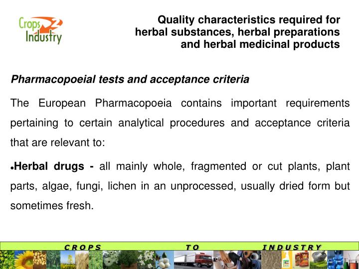 Quality characteristics required for