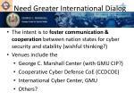 need greater international dialog