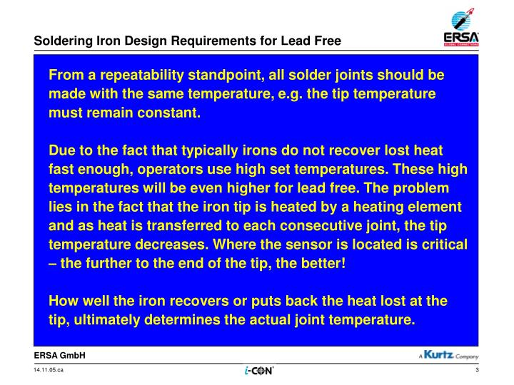 Soldering iron design requirements for lead free