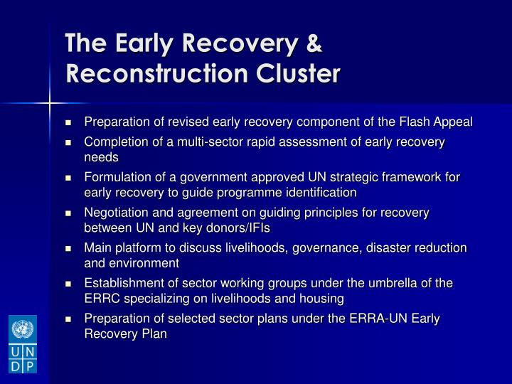 The early recovery reconstruction cluster