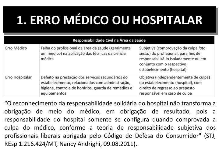 1. ERRO MÉDICO OU HOSPITALAR