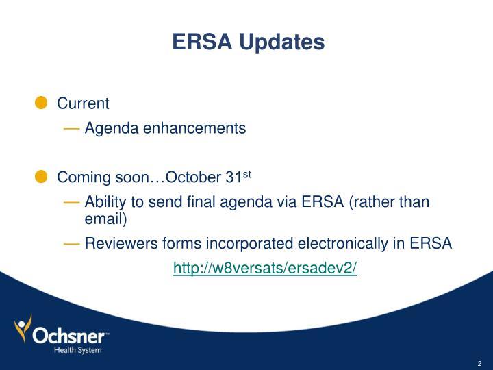 Ersa updates
