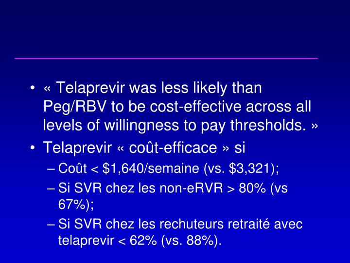 «Telaprevir was less likely than Peg/RBV to be cost-effective across all levels of willingness to pay thresholds.»