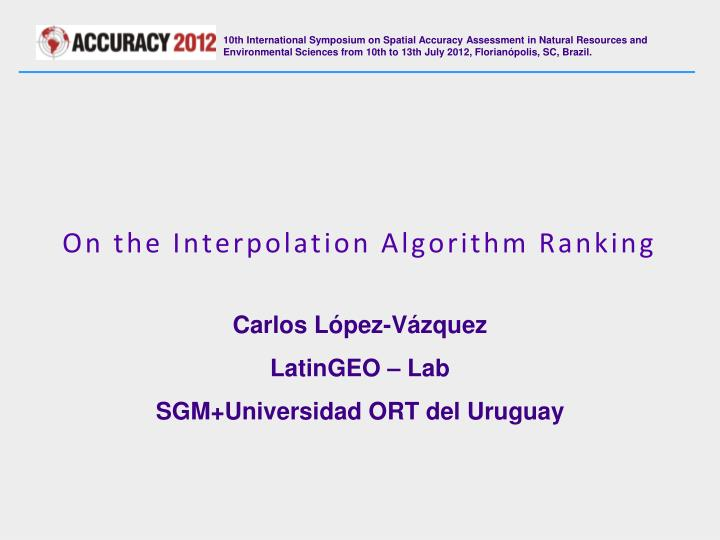 on the interpolation algorithm ranking n.