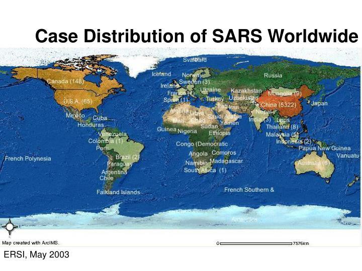Case distribution of sars worldwide