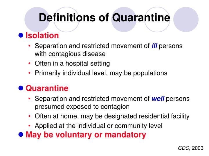 Definitions of Quarantine