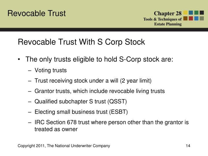 Revocable Trust With S Corp Stock