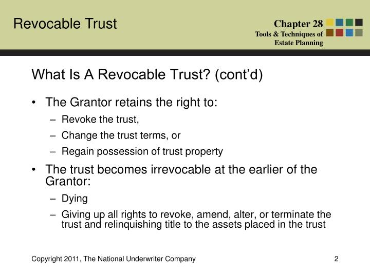 What is a revocable trust cont d
