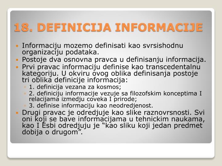 18 definicija informa cije