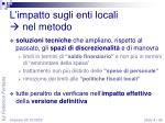 l impatto sugli enti locali nel metodo1