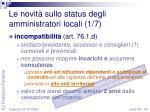 le novit sullo status degli amministratori locali 1 7