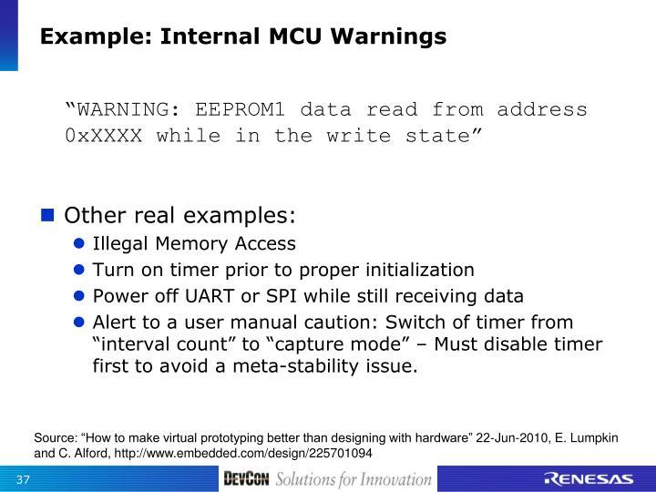 Example: Internal MCU Warnings