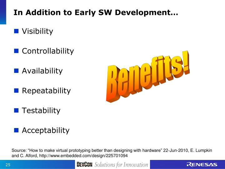 In Addition to Early SW Development…