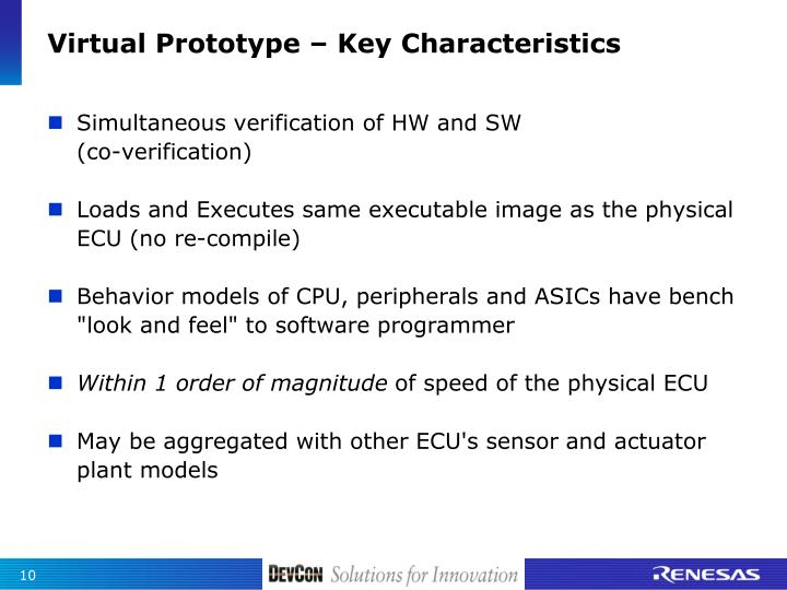 Virtual Prototype – Key Characteristics