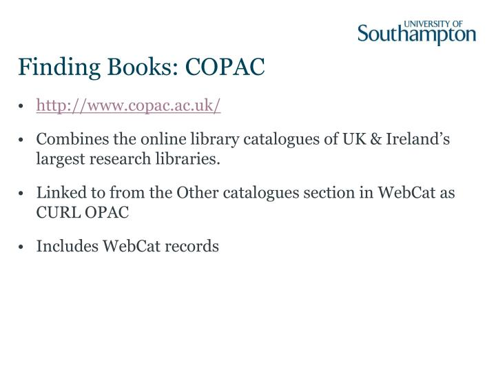 Finding Books: COPAC