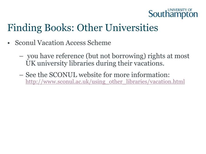 Finding Books: Other Universities