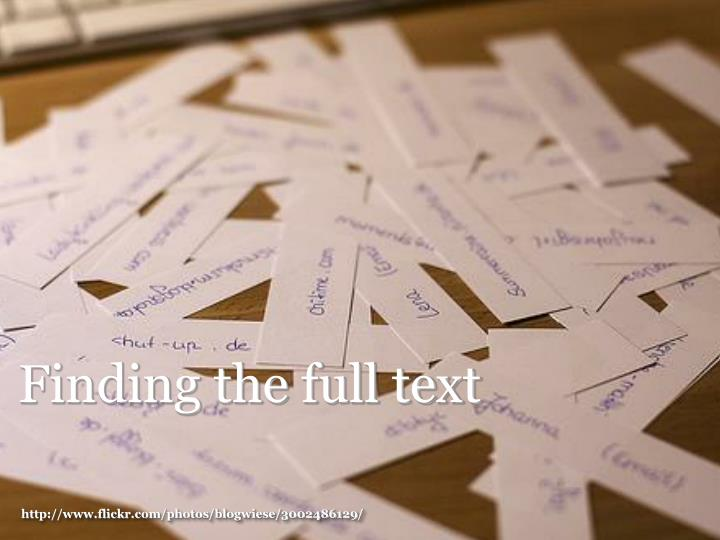 Finding the full text