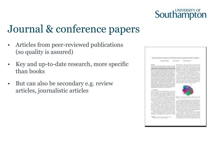 Articles from peer-reviewed publications (so quality is assured)